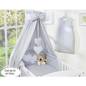 CIEL DE LIT BÉBÉ Ciel de lit bébé en tissu – gris à coeurs