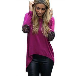 T-SHIRT T-shirt Femmes Patchwork de Sequins à manches l...