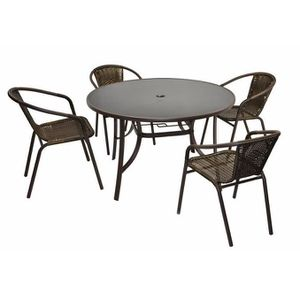 Table jardin ronde 120 cm achat vente table jardin - Table ronde 4 chaises ...