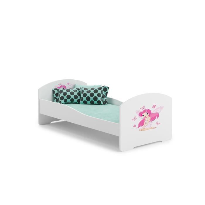 lit enfant fille avec des ailes 140x70cm sommier matelas achat vente lit complet lit. Black Bedroom Furniture Sets. Home Design Ideas