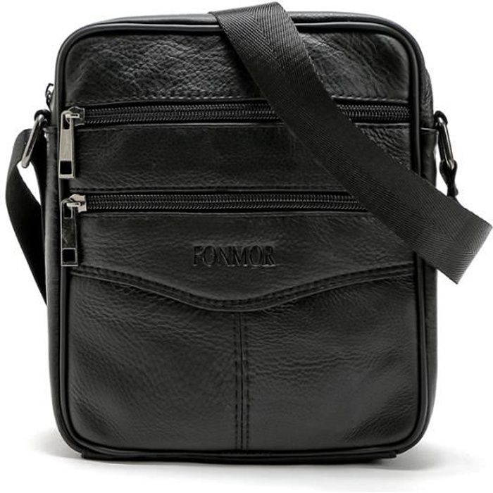 sac cuir sacoche homme retro noir noir noir achat vente pochette 2009832845627 cdiscount. Black Bedroom Furniture Sets. Home Design Ideas