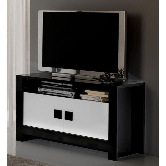 Meuble tv pisa laque bicolore noir blanc achat vente meuble tv meuble tv - Cdiscount meuble tv blanc laque ...