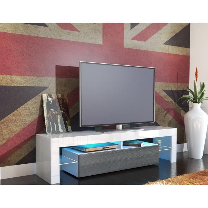 Meuble Tv 151 Cm Blanc Et Anthracite Achat Vente