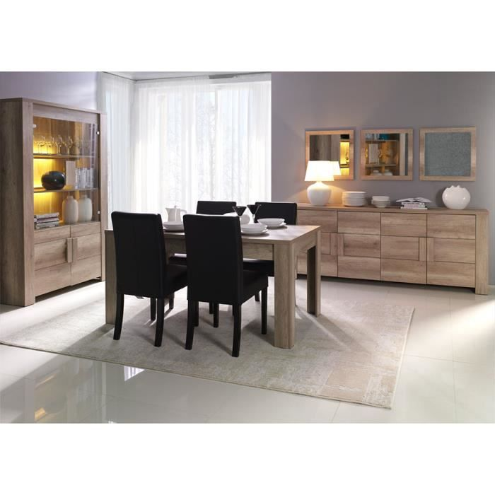 salle manger compl te couleur ch ne clair contemporaine doriane table 160 cm sans achat. Black Bedroom Furniture Sets. Home Design Ideas
