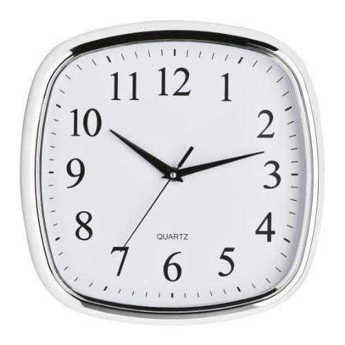 Premier housewares horloge murale carr e effet chrom - Horloge murale carree ...