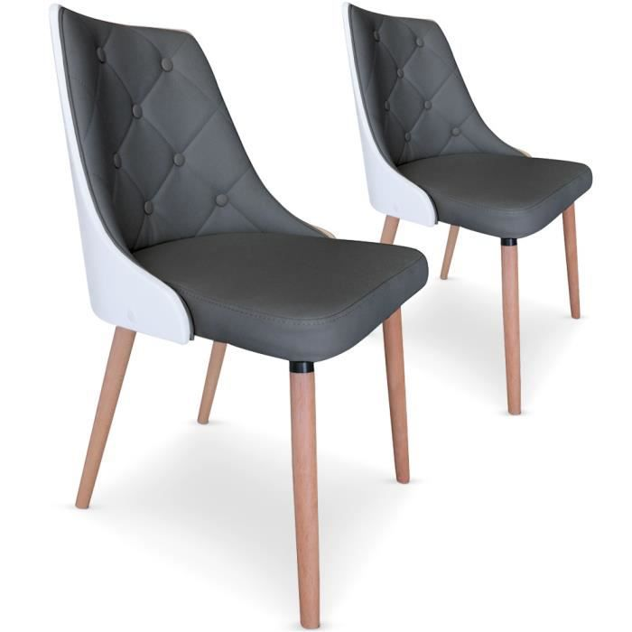 Lot de 2 chaises anya grises et bois blanc achat vente - Chaise blanc et bois ...