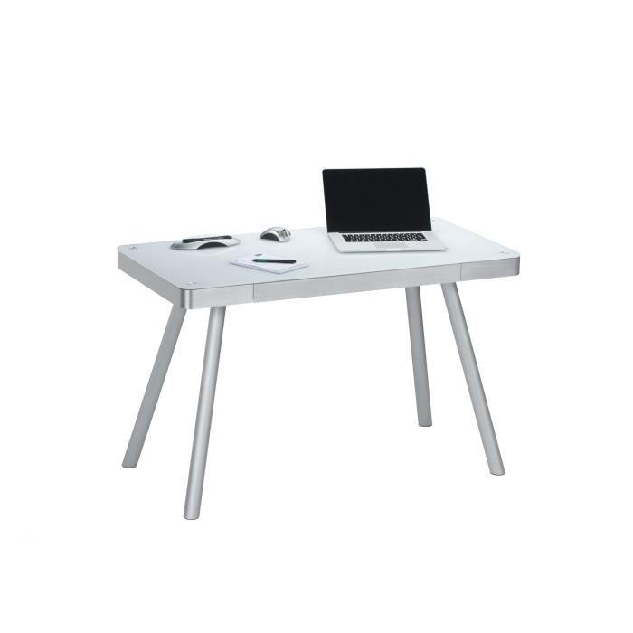 Bureau informatique design m tal et verre coloris blanc harty achat vente - Bureau design verre metal ...