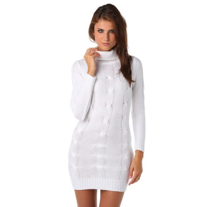 robe pull col roul blanc achat vente robe cdiscount. Black Bedroom Furniture Sets. Home Design Ideas