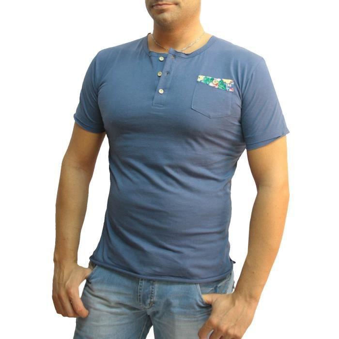 tee shirt homme col tunisien et poche chad bleu achat vente t shirt cdiscount. Black Bedroom Furniture Sets. Home Design Ideas