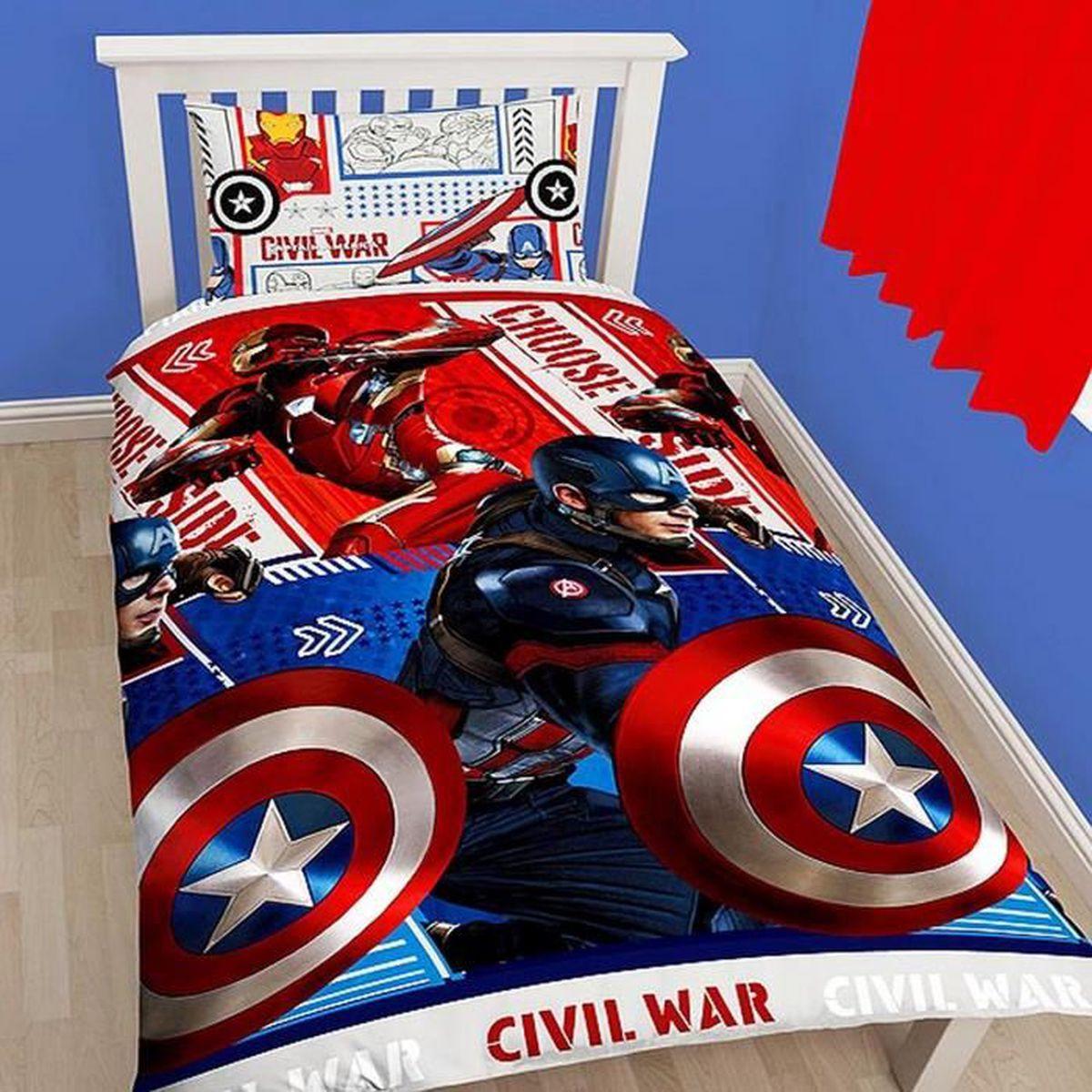 captain america parure de lit simple civil war enfant achat vente parure de drap. Black Bedroom Furniture Sets. Home Design Ideas