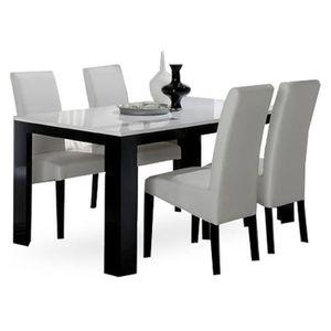 chaise noir et blanc laque achat vente chaise noir et blanc laque pas cher cdiscount. Black Bedroom Furniture Sets. Home Design Ideas