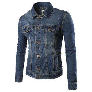 BLOUSON Veste hommes jeans élégant Bleu