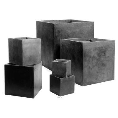 Bac cube h 60 x 60 x 60 cm fibre de terre noir achat Pot exterieur design pas cher
