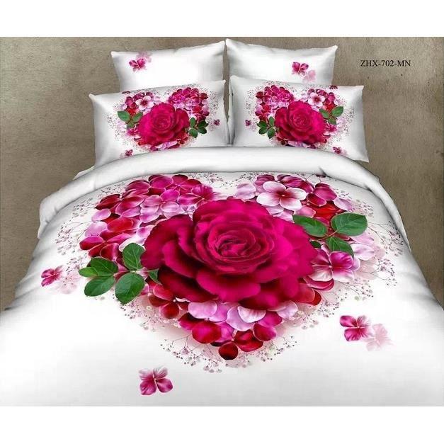 parure de couette coton 220 x 240 cm 3d effet 4 piece rose coeur achat vente housse de. Black Bedroom Furniture Sets. Home Design Ideas