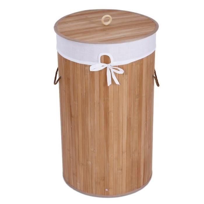 panier corbeille linge 48 l bambou 2001028 achat vente panier a linge panier corbeille. Black Bedroom Furniture Sets. Home Design Ideas