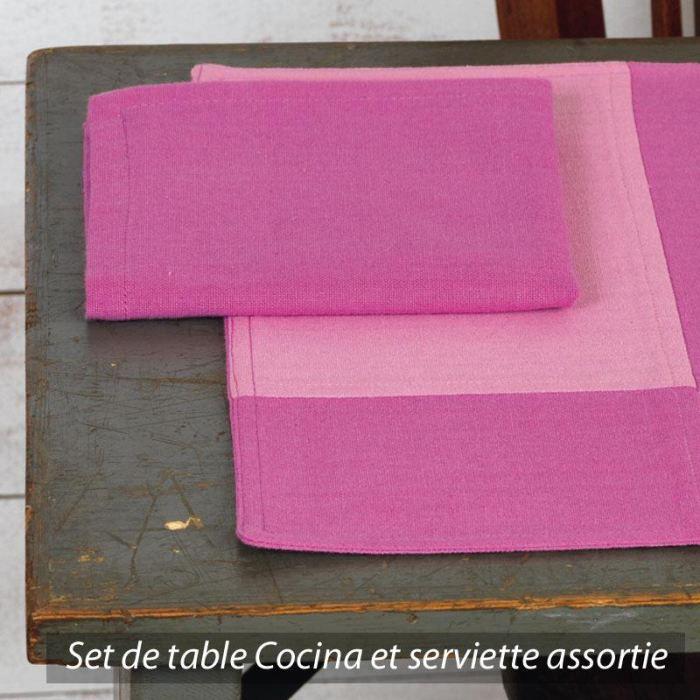 Set de table cocina damier rose et fuschia achat vente for Set de table rose