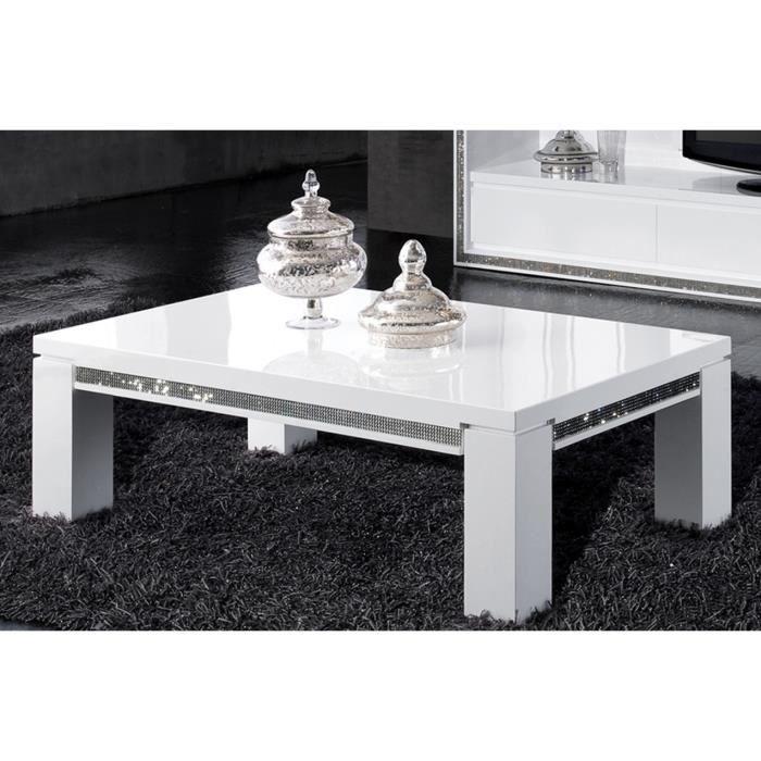 table basse ultra design blanc laqu avec strass achat vente table a manger seule table. Black Bedroom Furniture Sets. Home Design Ideas