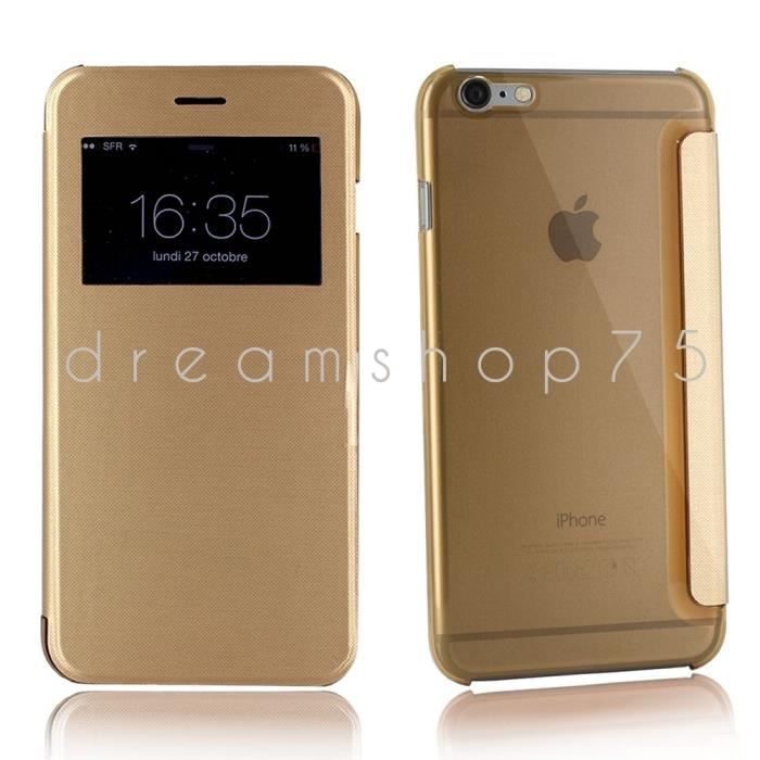 Housse coque iphone 6 plus flip cover view gold or for Housse iphone 6 plus