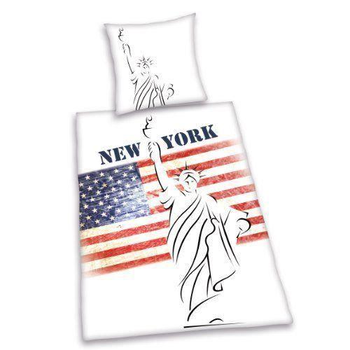 Herding parure linge de lit housse de couette 1 taie d oreiller new york stat - Cdiscount linge de lit ...