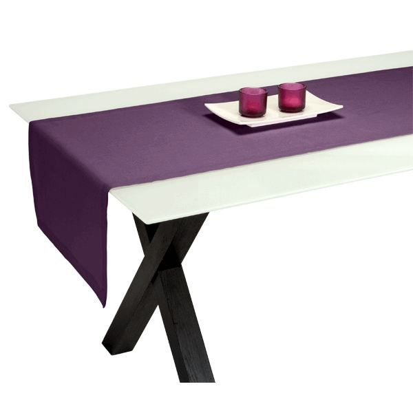 Chemin de table metis raisin 50 x 150 cm achat vente chemin et set de table cdiscount - Chemin de table violet ...