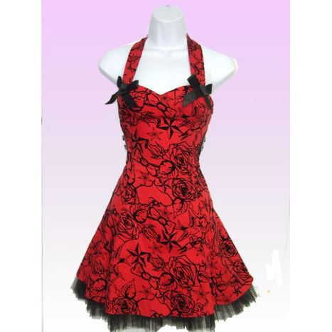Robe Rockabilly Rouge Gothique R... Rouge - Achat / Vente robe Robe ...