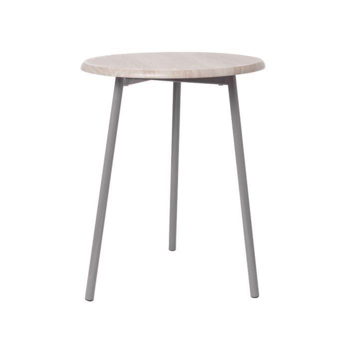 Table basse pt living en bois et m tal gris 40x achat for Table basse et haute a la fois
