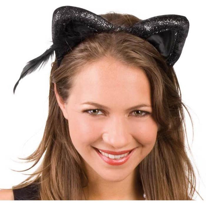 serre tete oreilles de chat noir velours achat vente. Black Bedroom Furniture Sets. Home Design Ideas