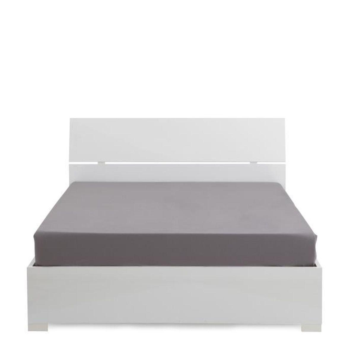 Bello lit coffre blanc avec sommier 12 lattes 160x200cm Lit mezzaclic 140x190