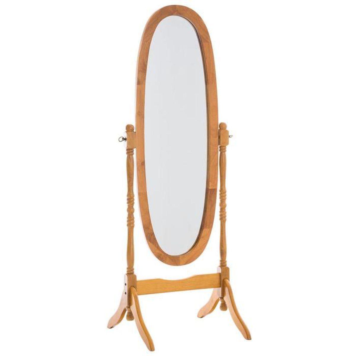 Miroir ovale en bois naturel 150 x 59 x 51 cm achat for Miroir 90 x 150