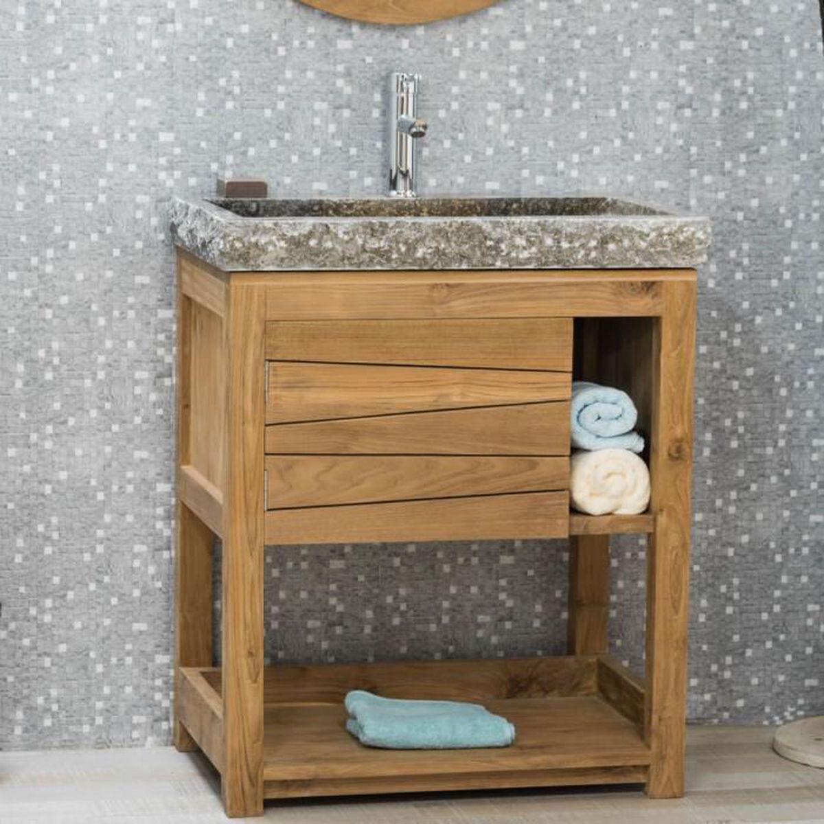 meuble en teck massif cosy 67cm vasque gris achat vente meuble vasque plan meuble en. Black Bedroom Furniture Sets. Home Design Ideas