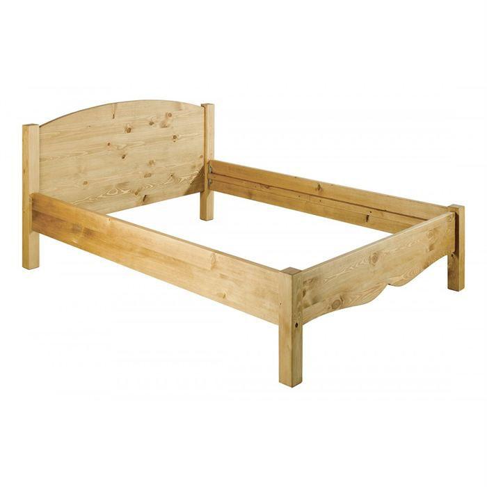 Lit 2 personnes en pin brut couchage 140 x 190 cm achat vente structure d - Lit 2 personnes cdiscount ...