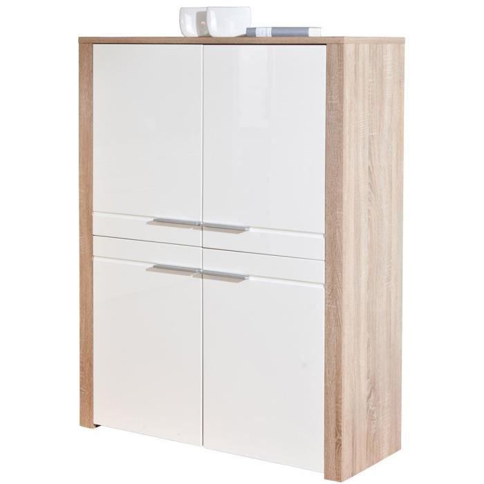 bahut 4 portes ch ne sonoma blanc dim 107 x achat vente buffet bahut bahut 4 portes. Black Bedroom Furniture Sets. Home Design Ideas