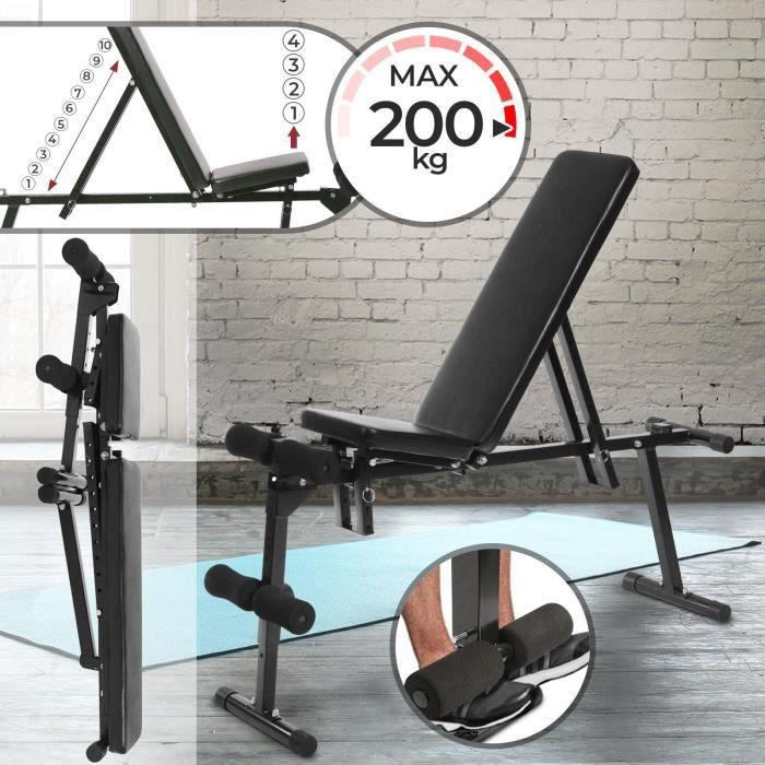 banc de musculation physionics hntlb07 noir prix pas cher cdiscount. Black Bedroom Furniture Sets. Home Design Ideas