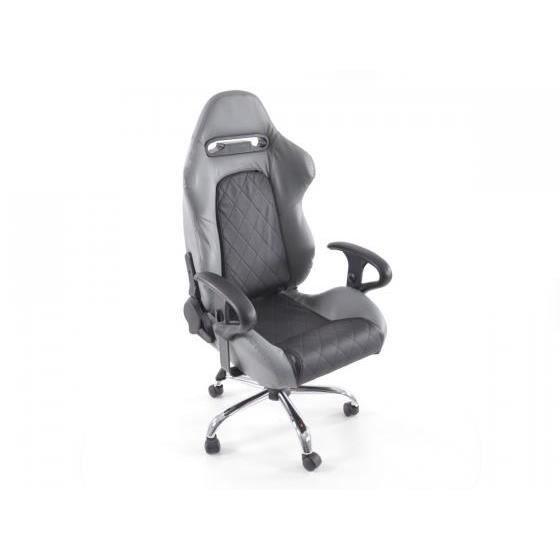 Chaise de bureau sport avec accoudoir pu noir gris achat - Chaise de bureau avec accoudoir ...