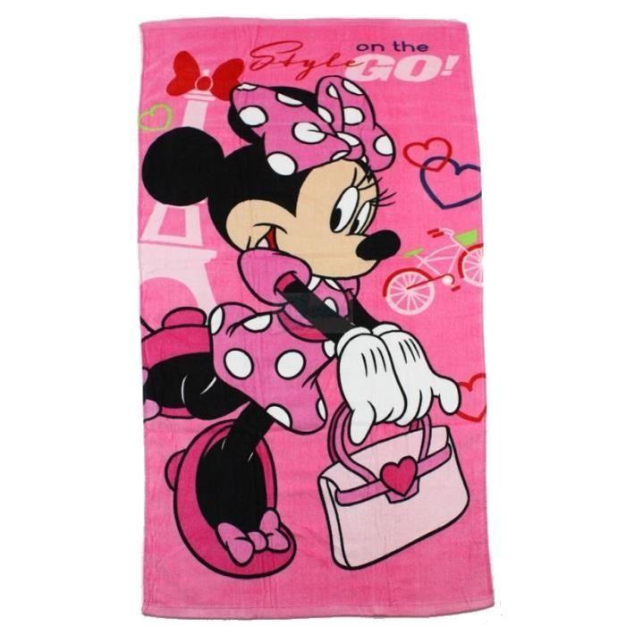 serviette de plage ou de toilette rose minnie pour fille. Black Bedroom Furniture Sets. Home Design Ideas
