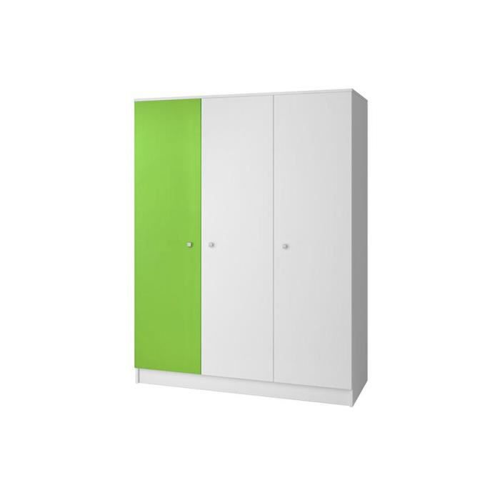 armoire blanche et verte miko 3 portes 140 cm achat vente armoire de chambre armoire blanche. Black Bedroom Furniture Sets. Home Design Ideas