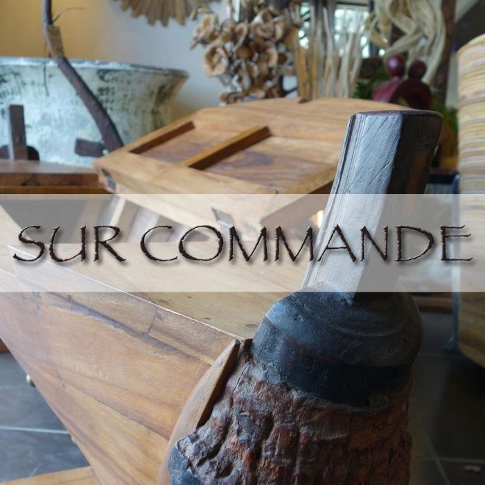 Table basse coffre barque en bois exotique achat vente for Table basse coffre bois