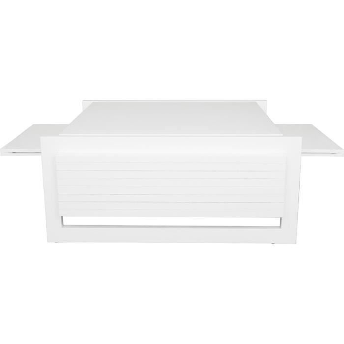 Table basse rectangulaire fr ne massif laqu blanc brillant plateau amovible - Table basse rectangulaire blanc ...