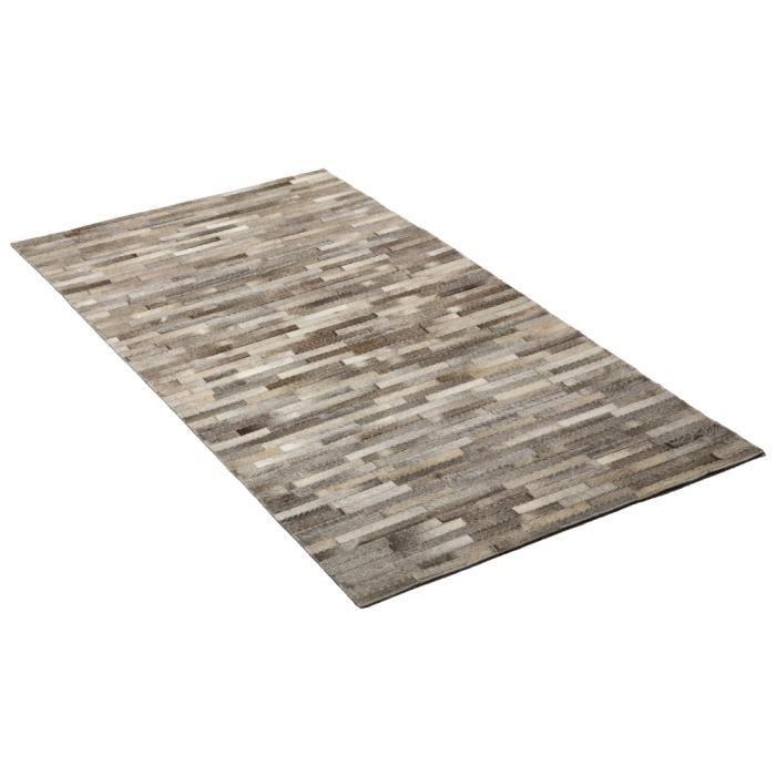 tapis en cuir gris 140x200 cm ispir achat vente pouf poire cdiscount. Black Bedroom Furniture Sets. Home Design Ideas