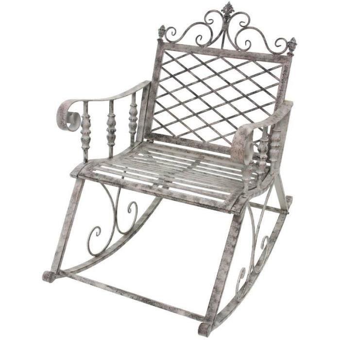 Fauteuil Banc Rockin Chair En Fer De Jardin 100 Cm 63 Cm Gris Achat Vente Fauteuil Jardin