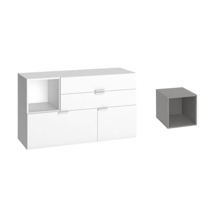 commode basse blanche avec 3 tiroirs et 1 porte 4 you gris achat vente commode de chambre. Black Bedroom Furniture Sets. Home Design Ideas