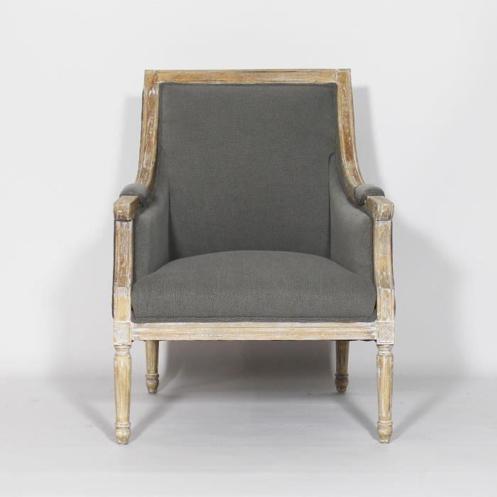fauteuil royal louis xvi gris bois achat vente fauteuil cdiscount. Black Bedroom Furniture Sets. Home Design Ideas