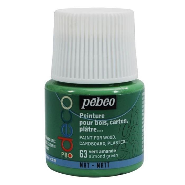 Peinture p bo d co vert amande mat 45ml pebeo achat for Peinture murale vert amande
