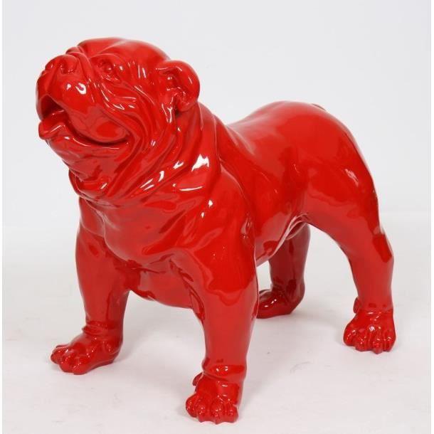 Statue sculpture chien bouledogue anglais xl 90 cm laqu for Decoration chien resine
