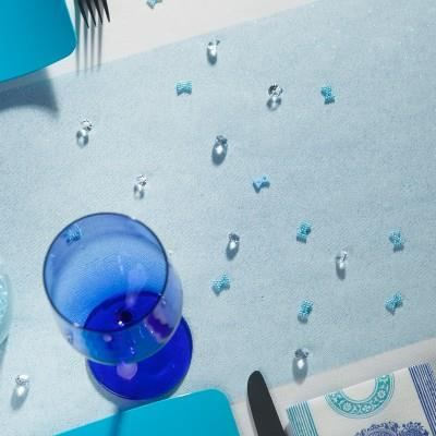 Chemin de table tulle paillet turquoise achat vente for Chemin de table turquoise