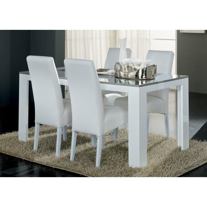 Table repas laqu e pisi blanc et gris dimension achat for Table a manger dimension