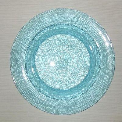 Assiette plate ronde 30 cm verre bleu clair kim achat for Service de table en verre