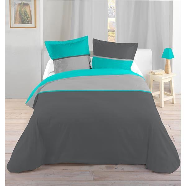 housse de couette et deux taies 240 cm bicolore. Black Bedroom Furniture Sets. Home Design Ideas