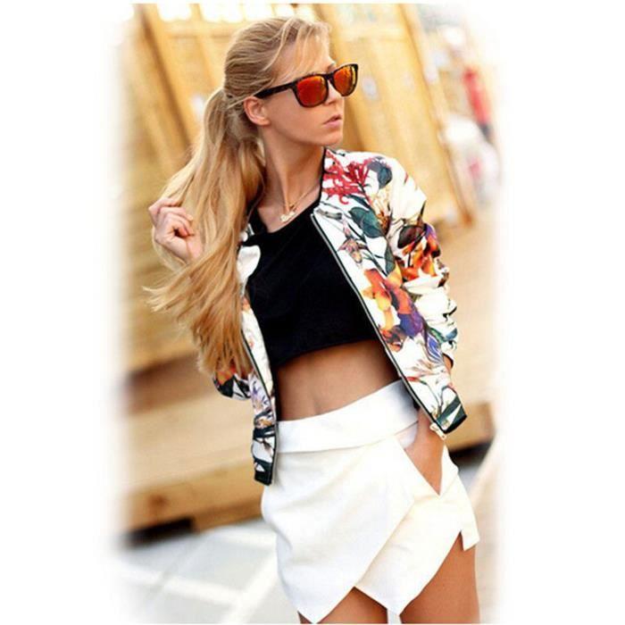 blouson blouson femme veste imprim floral bomber jacket z - Veste Colore Femme