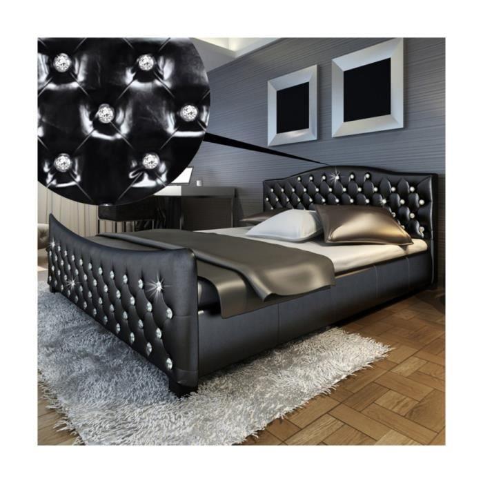 superbe lit en pu noir matelas m moire de forme 180x 200cm achat vente lit complet superbe. Black Bedroom Furniture Sets. Home Design Ideas
